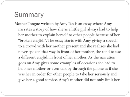 an essay about mother ppt mother tongue by amy tan powerpoint presentation id