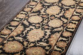 rugsville persian hand knotted khorasan black ivory wool runner rug 60x488