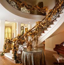 Gold with Sparkles  A Magical Christmas Theme. Christmas  StaircaseChristmas Stairs DecorationsStaircase ...