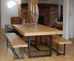 the brick dining room sets. Solid Oak Thick Narrow Dining Table Black Iron Legs Have Candles Lamp Beside Wicker Trash Brick Wall With Fireplace Above Wood Floor Around White The Room Sets L