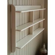wide wall mounted open back shelf unit painted kitchen