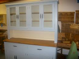 6ft dresser with glass doors on top painted in parma grey