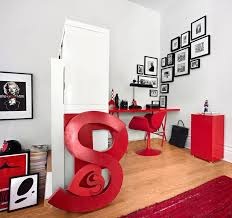 decorating office. Decorations:Terrific Corner Home Office Wall Decor With Red Furniture Plus Black Frame On Decorating