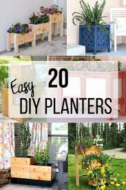 collage of diy wooden planter box ideas with text overlay