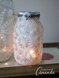 Decorated Jars Craft Burlap Doily Luminaries wedding jar lanterns 16