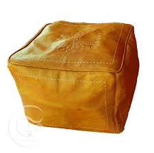 yellow square leather ottoman