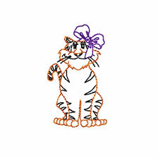 Vintage Embroidery Designs Machine Tiger Girl With Bow Sitting Vintage Stitch Machine Embroidery Design Mascot