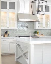 white kitchen subway backsplash ideas. Bright White Kitchen With Pale Blue Subway Tile Backsplash Beveled Ideas B