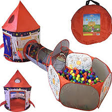 ball tent. playz 3pc rocket ship astronaut kids play tent, tunnel, \u0026 ball pit with basketball hoop toys for boys, girls, babies, and toddlers \u2013 educational galactic tent o