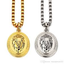 whole fashion 18k gold silver plated lion medallion head pendants hiphop franco long necklaces gold chain for mens bijouterie high quality