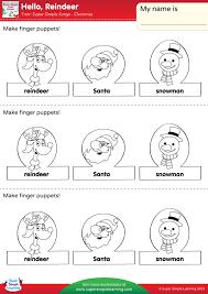 Hello Reindeer Worksheet Make Finger Puppets Super Simple
