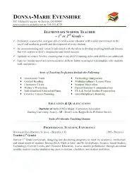 School Teacher Resume Examples Elementary School Teacher Elementary