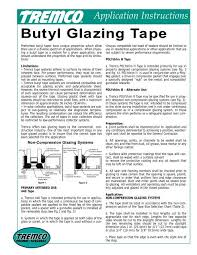 Butyl Glazing Tape Application Instructions Tremco Sealants