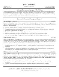 Restaurant Management Resume Resume For Study