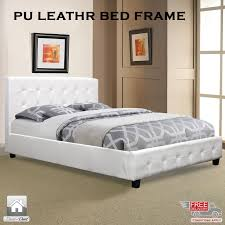 details about new luxury white best quality pu leather double bed frame