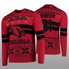 Arizona Cardinals Light Up Sweater Mens Nfl 100th Anniversary David Johnson Arizona Cardinals