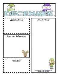 Monthly Newsletter Template For Teachers December Newsletter Template Kindergarten