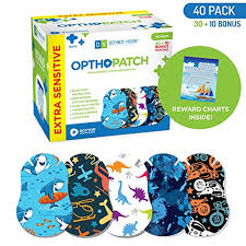 Opthopatch Kids Eye Patches Fun Boys Design 30 10 Bonus Latex Free Hypoallergenic Cotton Extra Sensitive Adhesive Bandages For Amblyopia Cross