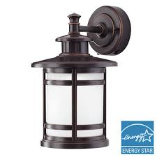 oil rubbed bronze motion sensor outdoor integrated led um wall mount lantern