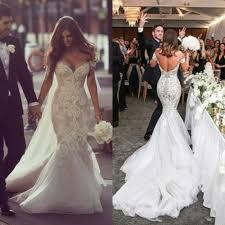 off shoulder lace applique mermaid wedding dresses beaded