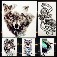 водонепроницаемый временные татуировки лесной волк король зверь