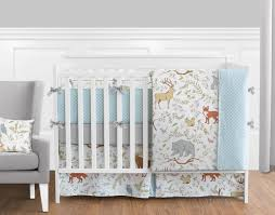 woodland animal toile baby boy or girl bedding 9pc crib set by sweet jojo designs