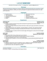 Restaurant Supervisor Duties Resume Restaurant Duties Resume