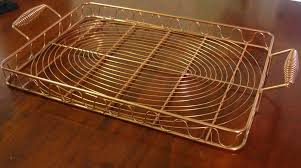 Decorative Wire Tray Copper Wire Rectangle Serving Tray 100x100x100 Rolled Handles Scroll 16