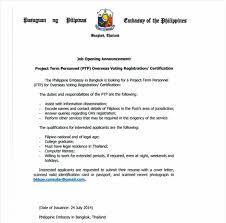 Job Opening Announcement Project Term Personnel Ptp Overseas