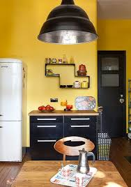 Image Light Yellow Yellow Kitchen Walls Homes Fifties Scent Kitchen With Yellow Walls And Black Cupboards Pinterest Homes Fifties Scent In Pictures House Ideas Yellow Kitchen