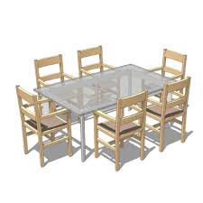 free gl table with six dining chairs