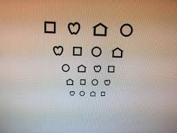 some pediatricians still use the chart below to test kids who don t know their letters they are called allen symbols but most pediatric ophthalmologists