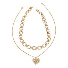 <b>Двойное золотистое колье</b> с подвеской сердцем - купить за 4 900 ...