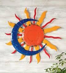 talavera painted metal sun and moon wall art