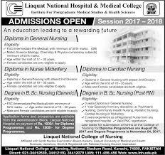 liaquat national hospital medical college karachi admission  liaquat national hospital medical college karachi admission 2017 18 in diploma in general nursing diploma in nursing midwife bsc nursing