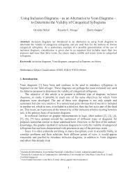 Syllogism Examples Using Venn Diagram Pdf Using Inclusion Diagrams As An Alternative To Venn Diagrams To