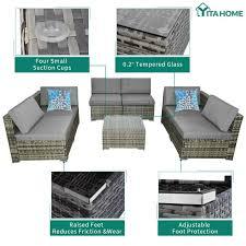 yitahome 7pcs outdoor patio sofa set pe