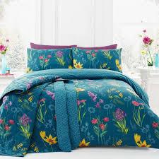 ingrid fl reversible duvet cover set teal blue