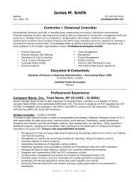 ... Sample Financial Controller Resume Appealing Controller and Divisional Controller  Resume Example with