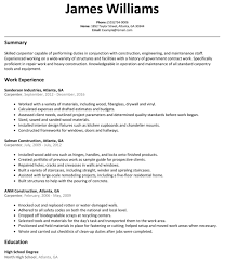 Carpenter Resume Objective Plumbers Template Plumber Format