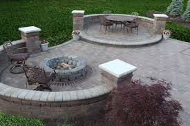 pleasant patio ideas with circled fire pit ideas as well as concrete pavers added beautiful backyard garden ideas
