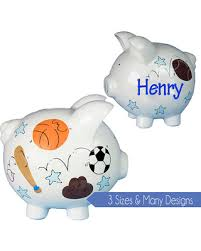 Boys Piggy Bank Hand Painted Personalized Ceramic Banks Design White Small Large Pig For Nursery Classic