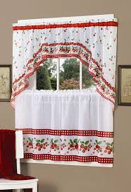 Strawberry Kitchen Curtains Amazoncom Achim Home Furnishings Strawberry Tier And Swag Set