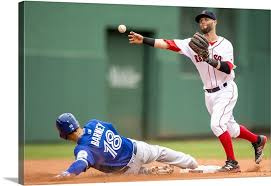 dustin pedroia of the boston red sox turns a double play canvas on boston red sox canvas wall art with dustin pedroia of the boston red sox turns a double play wall art