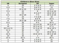 Boys Shoe Conversion Chart 13 Best Children Shoe Size Chart Images Shoe Size Chart