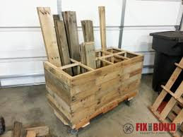 wooden rolling cart made out of pallets to wood