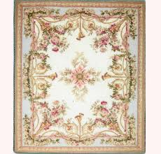 artisan made aubusson blue beige and pink area rug