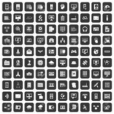 100 のデータベースやクラウド アイコン セット ブラック