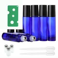 6Pcs <b>10ml</b> Amber Roll On <b>Glass</b> Bottles Roller Ball For Perfume ...