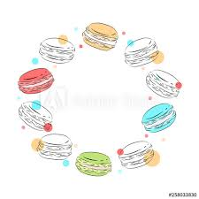 Round Frame Of Delicate Contour Macaroons With Multicolored